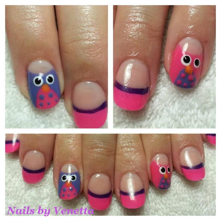 Pink French Acrylic Nails, Feature Nails Blue and Pink Owl Designs (Gel Polish) Nail Art