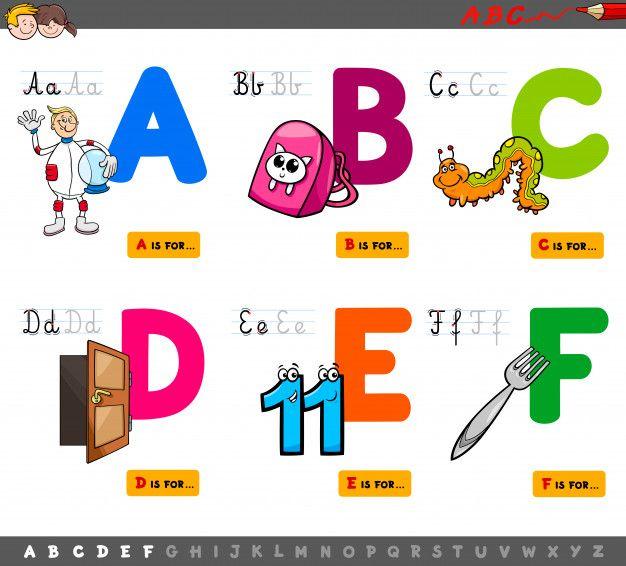 Ilustracion De Dibujos Animados De Letras Mayusculas Conjunto Educativo Premium Vector Ilustracion De Dibujos Animados Abecedario Lettering Dibujos Animados