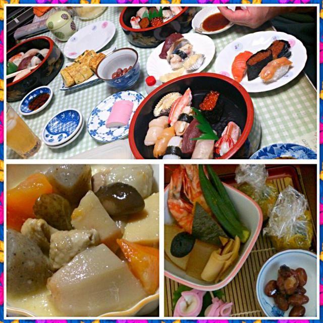 毎年ここの鮨で父さんの友達と晦日過ごします。里芋のうま煮、海老のうま煮とお煮染め、かぼちゃのきんとん、さつまいものきんとん、金時豆はお供え用に。 - 42件のもぐもぐ - 晦日の晩餐勝寿司の竹鮨 by asapon