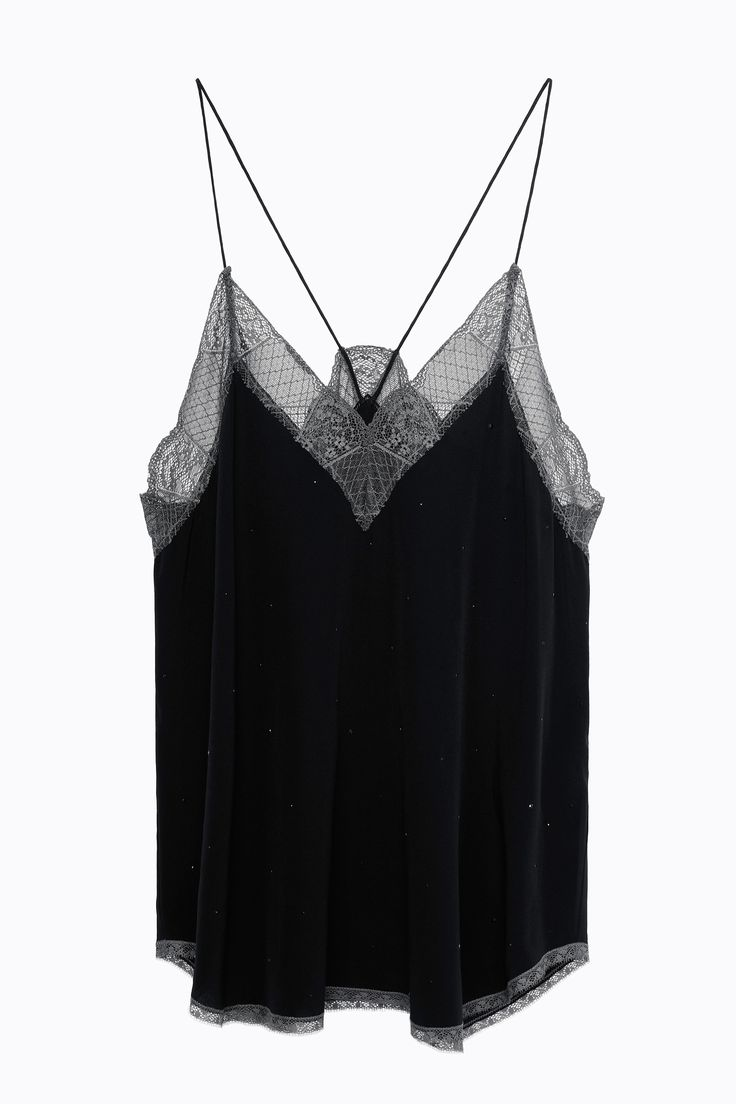 Zadig & Voltaire washed crêpe de chine camisole, inset patchwork lace, all-over rhinestones, lace at top 95% nylon, 5% spandex, lace at bottom 100% polyamide, camisole 100% crêpe de chine silk.