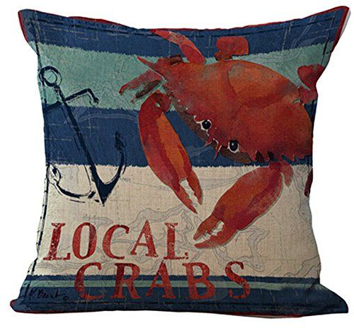 Mediterranean series crabs and lobsters Home Throw Pillow...
