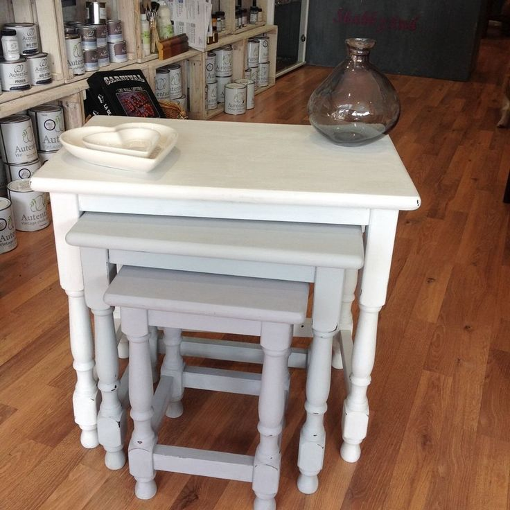 Pine Nest of Tables Painted in Autentico Chalk Paint #Unbranded #Country