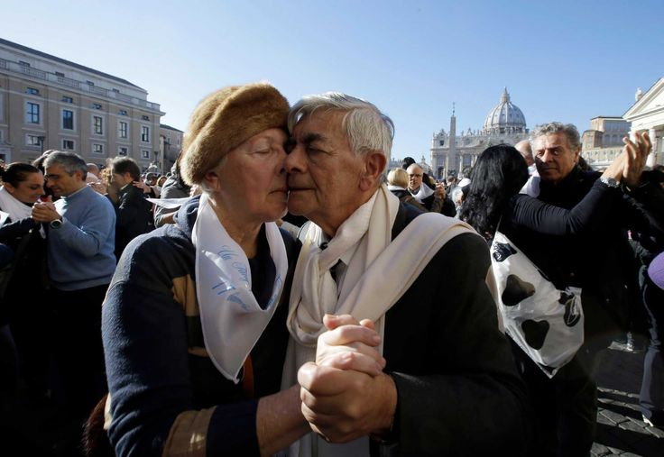 A couple dances tango in front of St. Peter's Square to celebrate Pope Francis 78th birthday, at the Vatican, Wednesday, Dec. 17, 2014. Hundreds of tango dancers from all over the world gathered just next to St. Peter's Square for a milonga to mark Pope Francis' 78th birthday. (Gregorio Borgia, AP / AP)