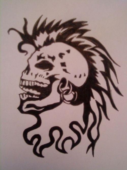 mohawk skull tattoo design