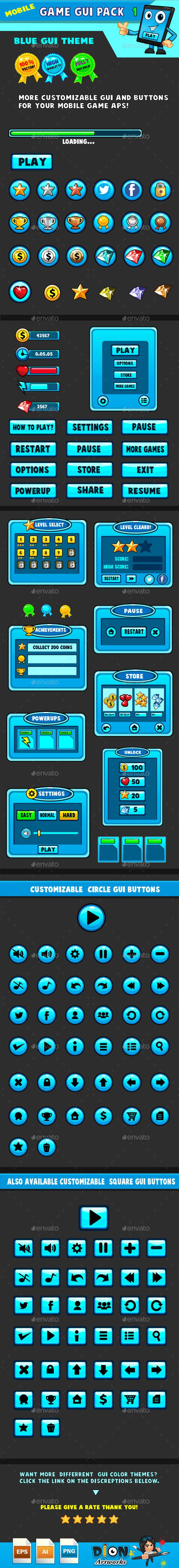 Mobile games GUI Pack Transparent PNG, Vector EPS, AI Illustrator. Download here: https://graphicriver.net/item/mobile-games-gui-pack1-blue-theme/9453260?ref=ksioks