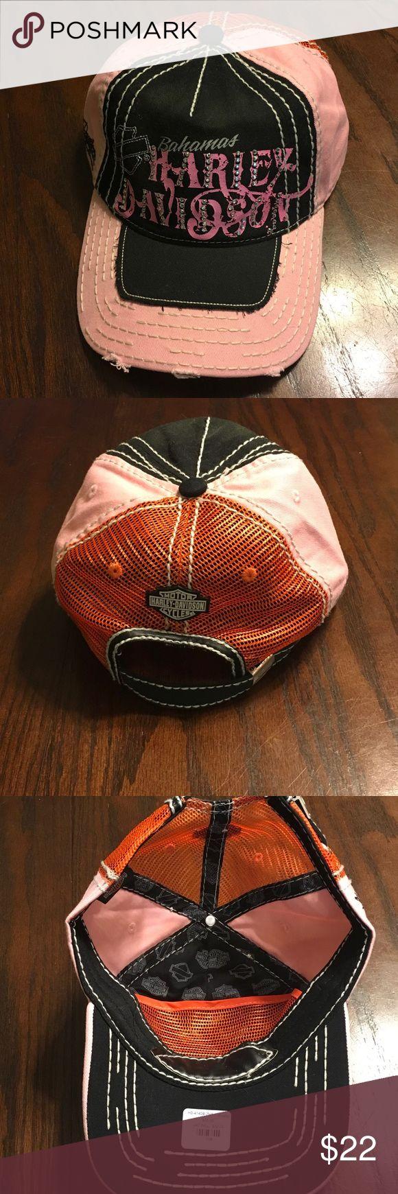 "Women's Harley Davidson hat Women's Harley Davidson""Bahamas"" hat. New and never worn. Pink/black/orange distressed look with Rhinestones. Adjustable for size Harley-Davidson Accessories Hats"