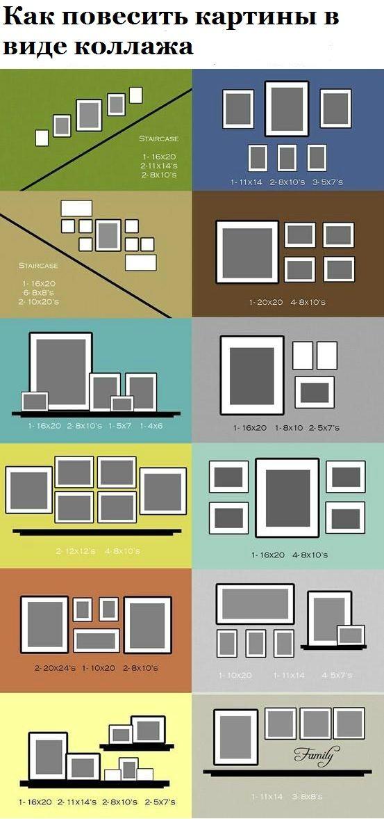 Как повесить картины в виде коллажа