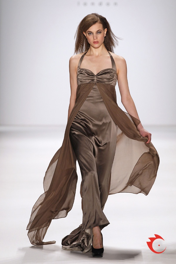 anja gockel - fashionable and elegant silk and chiffon evening gown in toffee