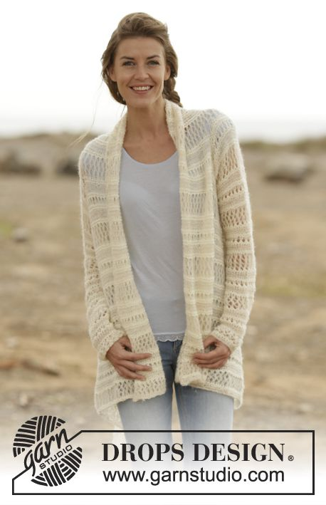 "Knitted DROPS jacket with lace pattern in ""Baby Merino"" and ""Brushed Alpaca Silk"". Size: S - XXXL. ~ DROPS Design"