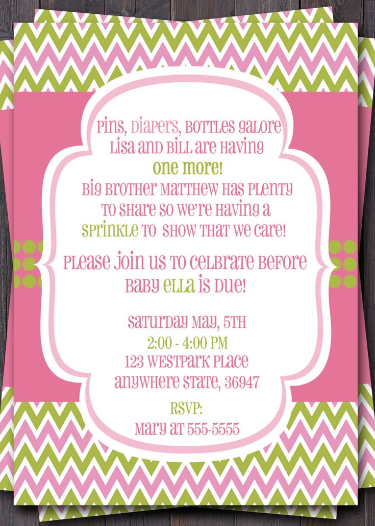 Second Baby Shower Invitation Wording Sprinkle PaperInvite