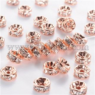 Brass Rhinestone Spacer Beads RB-A014-Z8mm-01RG-NF