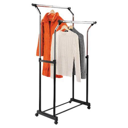 Perfect for keeping pressed oxford shirts and cocktail dresses hanging neatly in place, this adjustable garment rack showcases 2 rods and a castered base.  ...