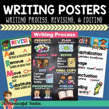 You are receiving 3 writing posters to help your students with ANY writing lesson. Posters include: The Writing Process, Editing, and Revising. Posters even include revising and editing marks. Fantastic support for Common Core. Print and re-use these posters all year