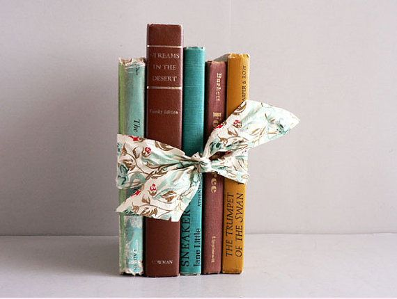Home Decor Vintage Books Turquoise/ Browns Set of 5 by Etsplace, $32.99