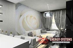 Дизайн черно-белой гостиной.
