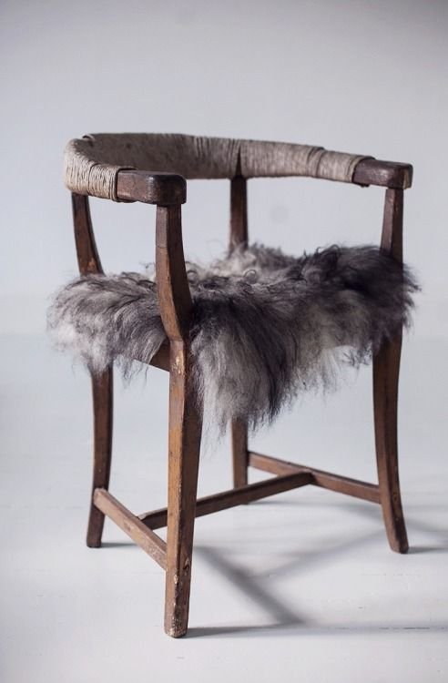 Crush Cul de Sac - redo old chair by wrapping string or chrome wire around frame and topping off with fake fur