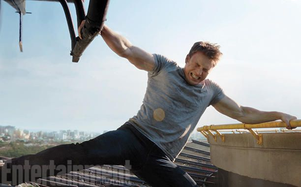 In a scene from the trailer, Cap uses his supersoldier strength to grab on to the edge of a building and prevent a helicopter from escaping. (We don't know who's inside it, or why he can't let it leave.) The governments of the world are up in arms over self-appointed superheroes causing havoc, and crashing this helicopter is exactly the kind of thing that makes Cap an outlaw.  #CaptainAmericaCivilWar