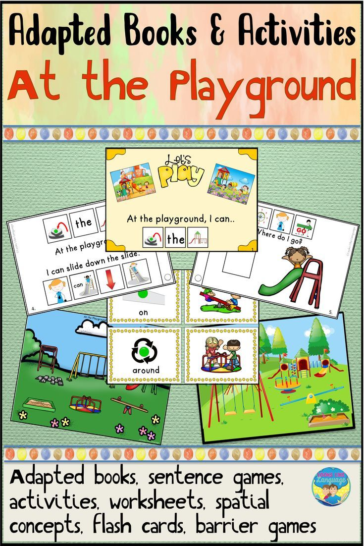 There Are So Many Fun Activities In This Playground Themed Adapted Book Set Work On Spatial Concepts Early Reading Skills Adapted Books Social Skills Autism [ 1102 x 735 Pixel ]