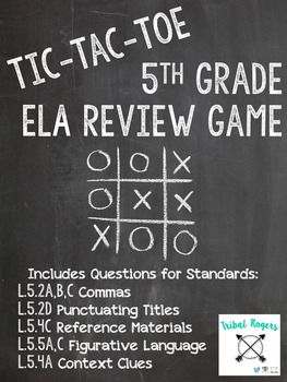 This fun, interactive game is perfect to review 5th grade ELA standards. The download includes directions on how to play the game along with 11 questions and answer key for you to quickly check your student's work. Standards Covered: L.5.2a,b,c Commas L.5.2d Punctuating Titles L.5.4c Reference Materials L.5.5a,c Figurative Language L.5.4a Context Clues **This game can easily be used for