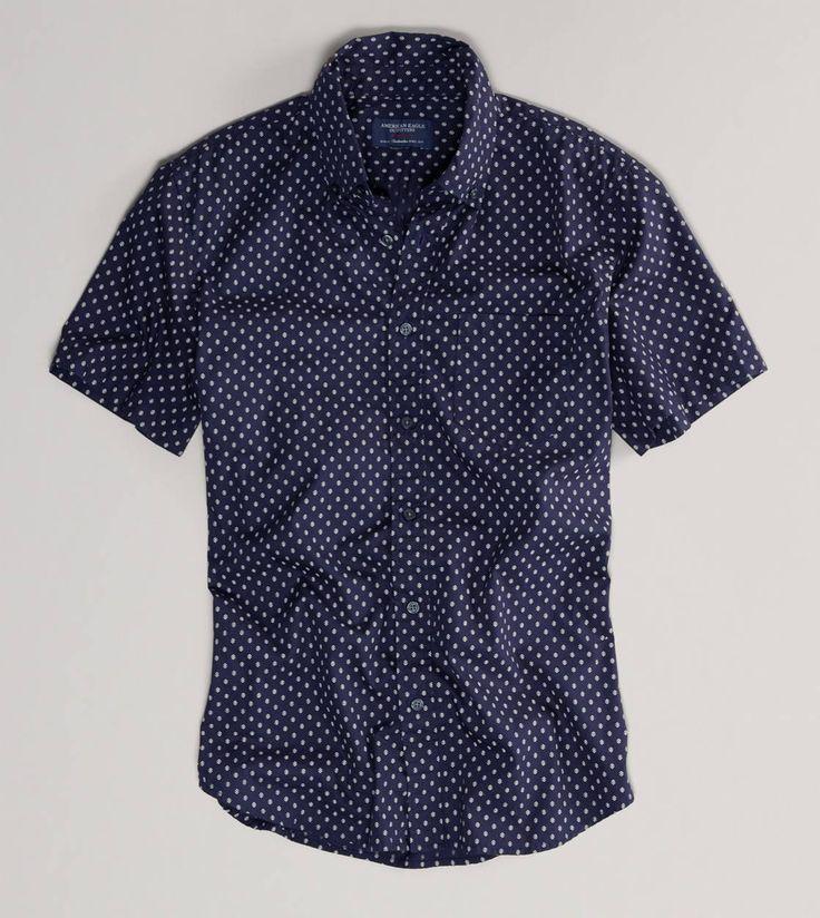 AE Printed Short Sleeve Button-Down