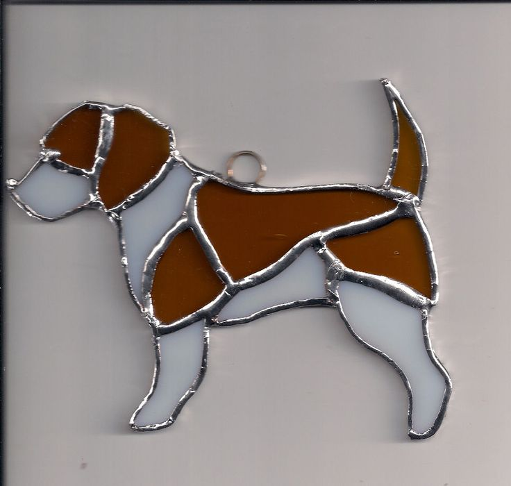 Beagle Dog IN NEW STAINED GLASS  New Sun Catcher white and brown 5.5 in   picclick.com