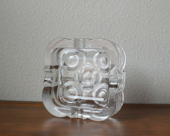 Mid Century Vintage Scandinavian glass square di TheVintageSouth