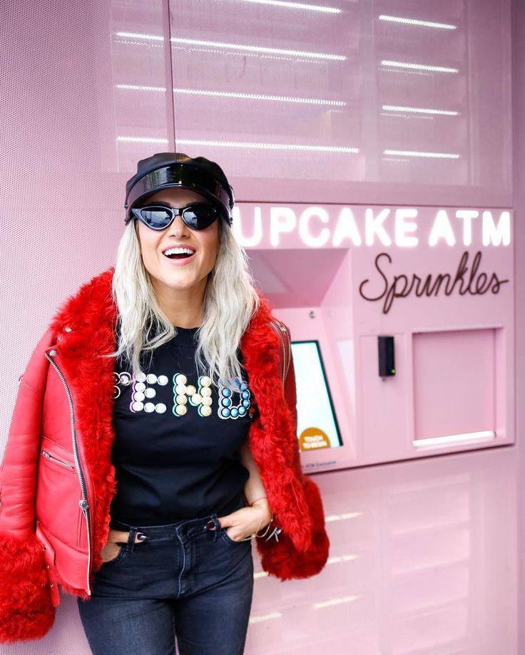 100% joy! #helenberkun #joy #fashion #chic How to wear a statement jacket with fendi tshirt and cute accessories