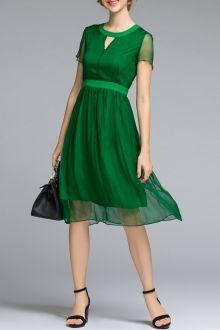 Gauze Splicing Solid Color Dress
