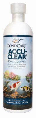 Brand New, MARS FISHCARE NORTH AMERICA, - POND CARE ACCU CLEAR 16OZ (POND PRODUCTS - POND - WATER CARE) by MARS FISHCARE NORTH AMERICA,. $14.55. Brand New, MARS FISHCARE NORTH AMERICA, - POND CARE ACCU CLEAR 16OZ (POND PRODUCTS - POND - WATER CARE)  Pond Clarifier •Quickly clears cloudy pond water by causing tiny suspended particles to clump together, forming larger particles that fall to the bottom and are siphoned out or removed by the pond filter. Maintains cry...