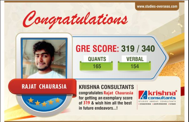 We congratulate Rajat Chaurasia for achieving exceptional score in GRE. We wish him a bright future ahead!