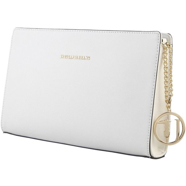 Trussardi White clutch bags 75B494_01_BIANCO ($105) ❤ liked on Polyvore featuring bags, handbags, clutches, white clutches, white handbags, white purse and trussardi