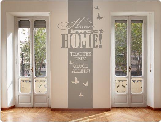 Wandtattoo Banner Home Sweet Home - Trautes Heim - Glück Allein