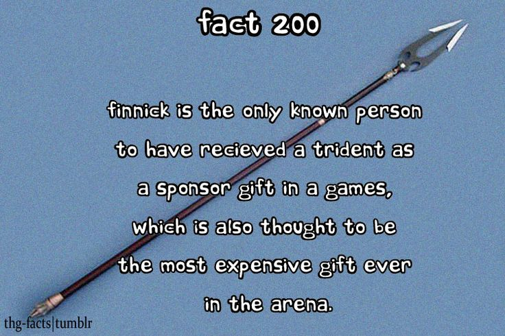 Hunger Games Fact: Finnick is the only known person to have received a trident as a sponsor gift in a games, which is also thought to be the most expensive gift ever in the arena