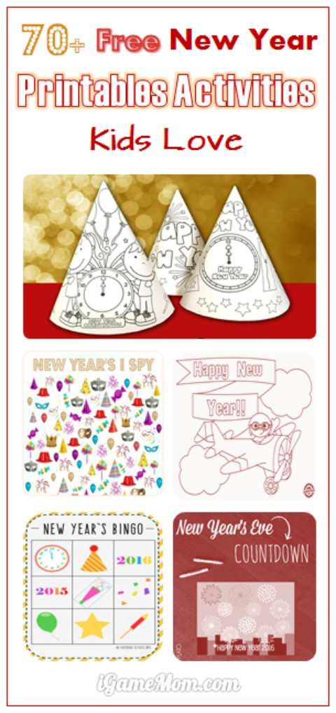 free New Year Eve printable activities for kids