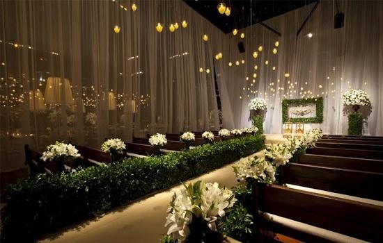Lais Aguiar chapel's air candles white lilies veil green church benches altar aisle path genou holy spirit Casa Fasano