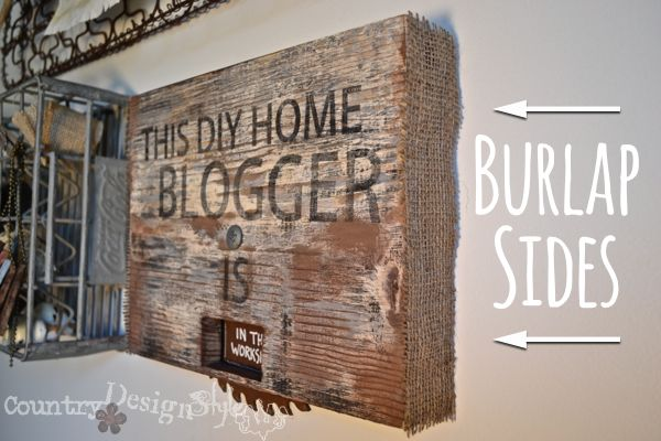blogger sawblade sign http://countrydesignstyle.com #burlap #rustic #sign