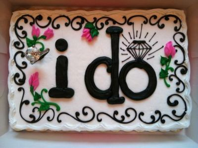 """I do"" is the focus of this bridal shower cake.  See more bridal shower cake ideas at www.one-stop-party-ideas.com"