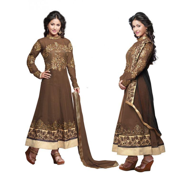 #HinaKhan Brown Georgette #AnarkaliSuits With Dupatta