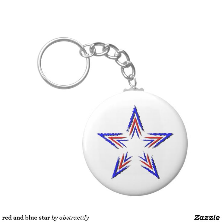 red and blue star basic round button keychain