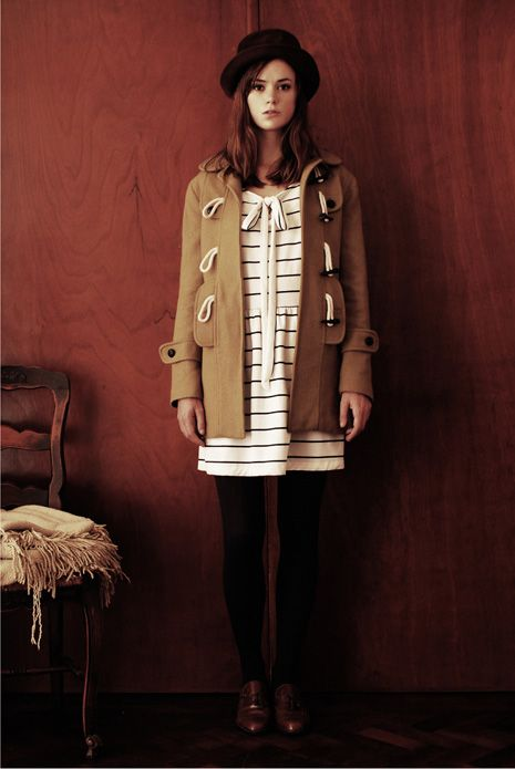 love this combo. a very girlish take on classic menswear.:duffle coat