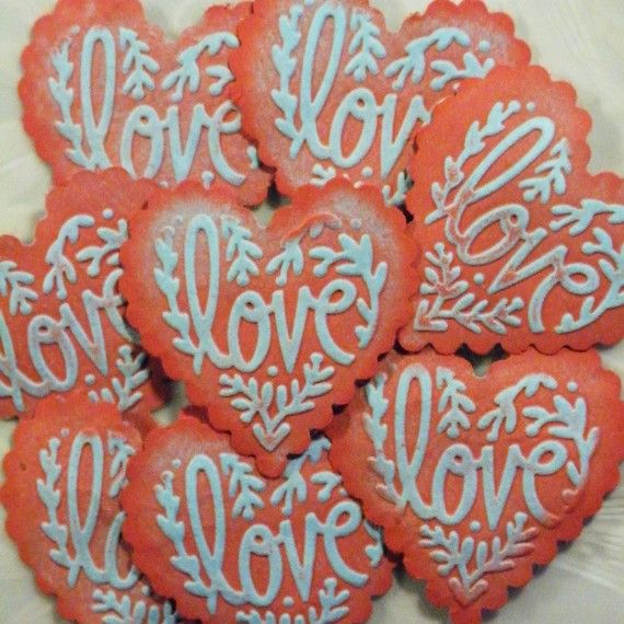 """love"" heart cookies."