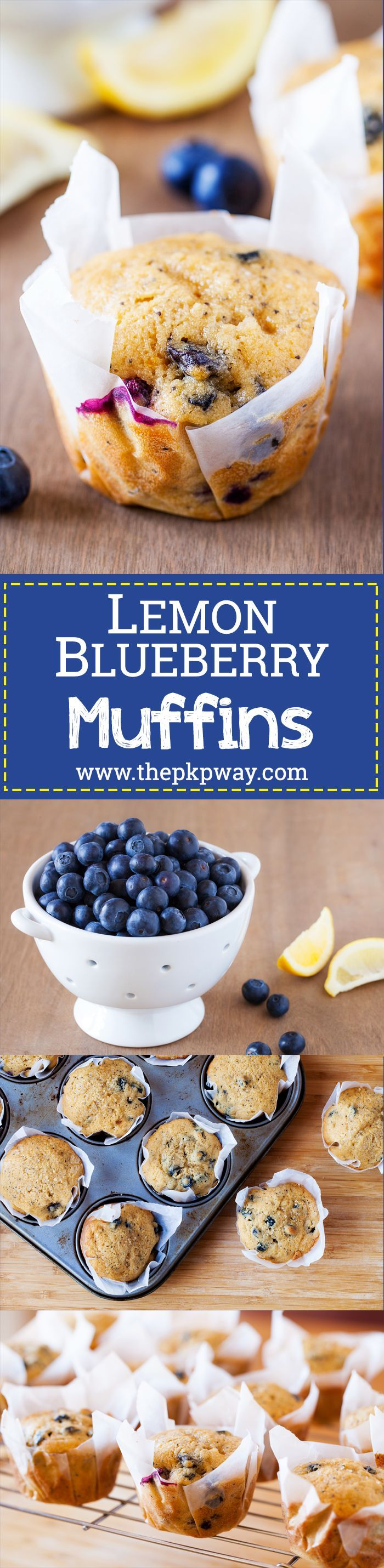These blueberry lemon muffins are ultra moist, have a punch of  lemon flavor, and pops of juicy blueberries in every bite.
