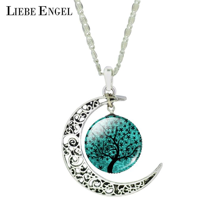 LIEBE ENGEL Fashion Life Tree Statement Necklace Vintage Silver Color Moon For Women Summer Style Pendant Necklace Fine Jewelry //Price: $1.19 & FREE Shipping //     #hashtag3