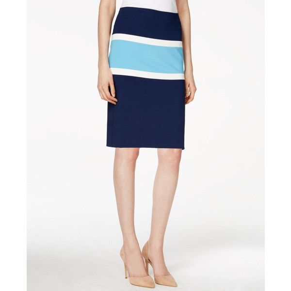 Anne Klein Colorblocked Pencil Skirt ($60) ❤ liked on Polyvore featuring skirts, navy stripe, white skirt, striped pencil skirt, stripe skirt, knee length pencil skirt and stripe pencil skirt
