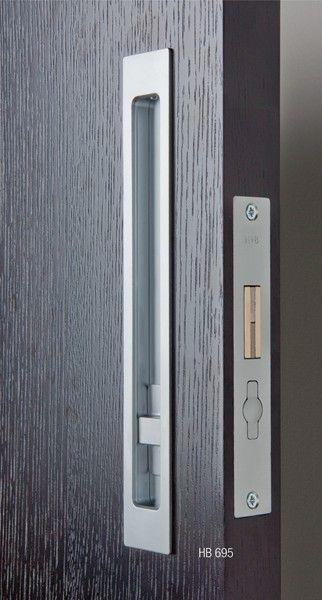 Pocket Door Hardware: HB 695 Pocket Door Hardware Privacy Lock: 250mm - HandB2012