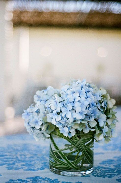 These hydrangeas are sitting pretty on a matching blue damask tablecloth.