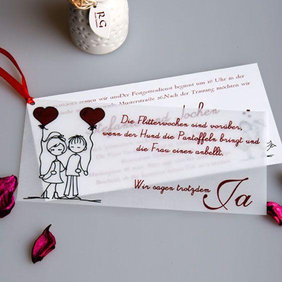 ... Ja Lustig Individuell mit Schleife in Rot Hochzeitseinladungen Karten