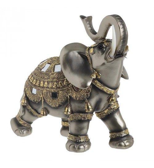 POLYRESIN ELEPHANT IN GOLDEN_ BRASS COLOR 27Χ12_5Χ26