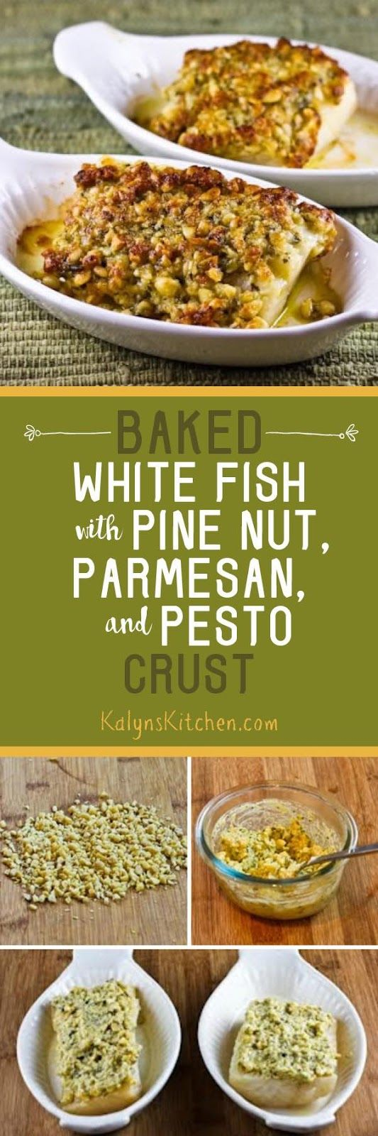 Baked White Fish with Pine Nut, Parmesan, and Basil Pesto Crust is low-carb, Keto, low-glycemic, gluten-free, and South Beach Diet friendly, and it's special enough to serve to guests. I promise, no one will remotely think of this as diet food! [found on KalynsKitchen.com] #BakedFish #Baked FishPesto #BakedFishPestoPineNuts