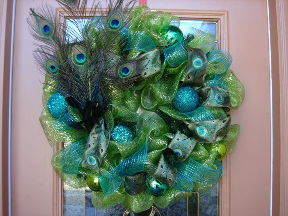 Deco Mesh Green And Turquoise Peacock Feather Wreath